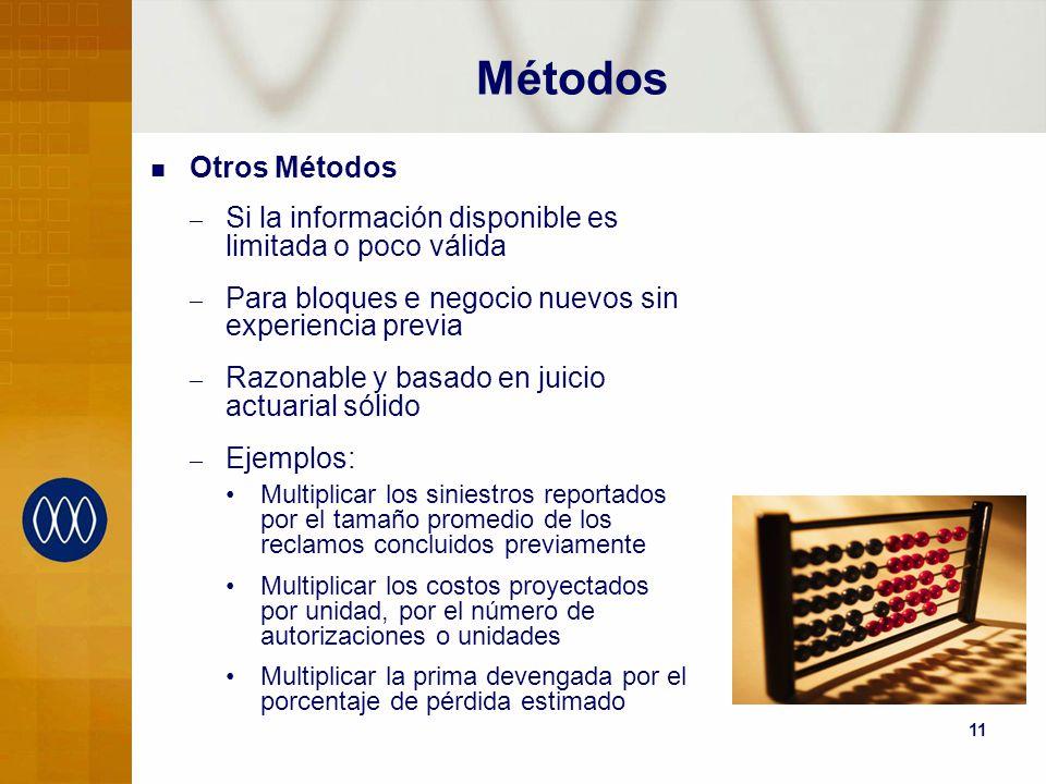 Métodos Otros Métodos. Si la información disponible es limitada o poco válida. Para bloques e negocio nuevos sin experiencia previa.