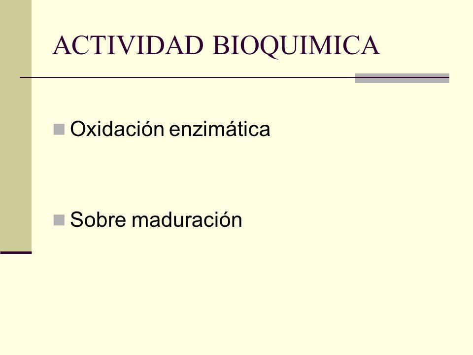 ACTIVIDAD BIOQUIMICA Oxidación enzimática Sobre maduración