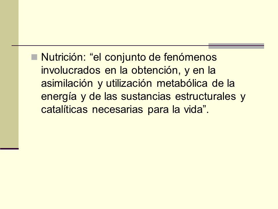 Nutrición: el conjunto de fenómenos involucrados en la obtención, y en la asimilación y utilización metabólica de la energía y de las sustancias estructurales y catalíticas necesarias para la vida .
