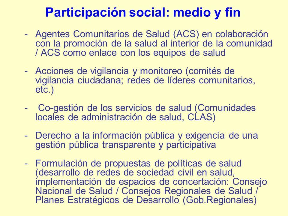 Participación social: medio y fin