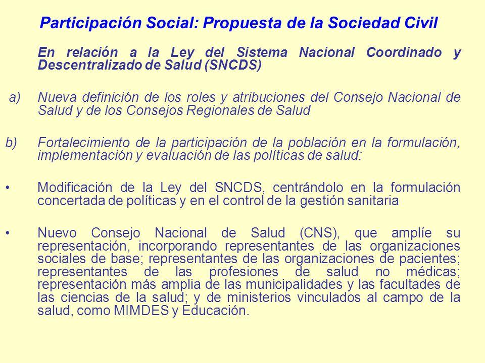 Participación Social: Propuesta de la Sociedad Civil