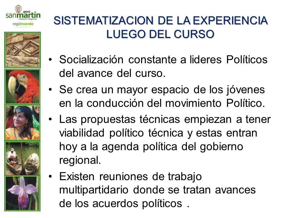 SISTEMATIZACION DE LA EXPERIENCIA LUEGO DEL CURSO