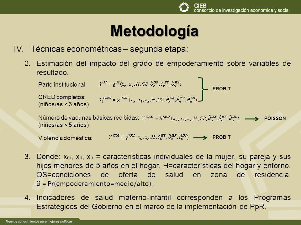 Metodología Técnicas econométricas – segunda etapa: