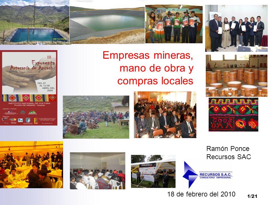 Empresas mineras, mano de obra y compras locales
