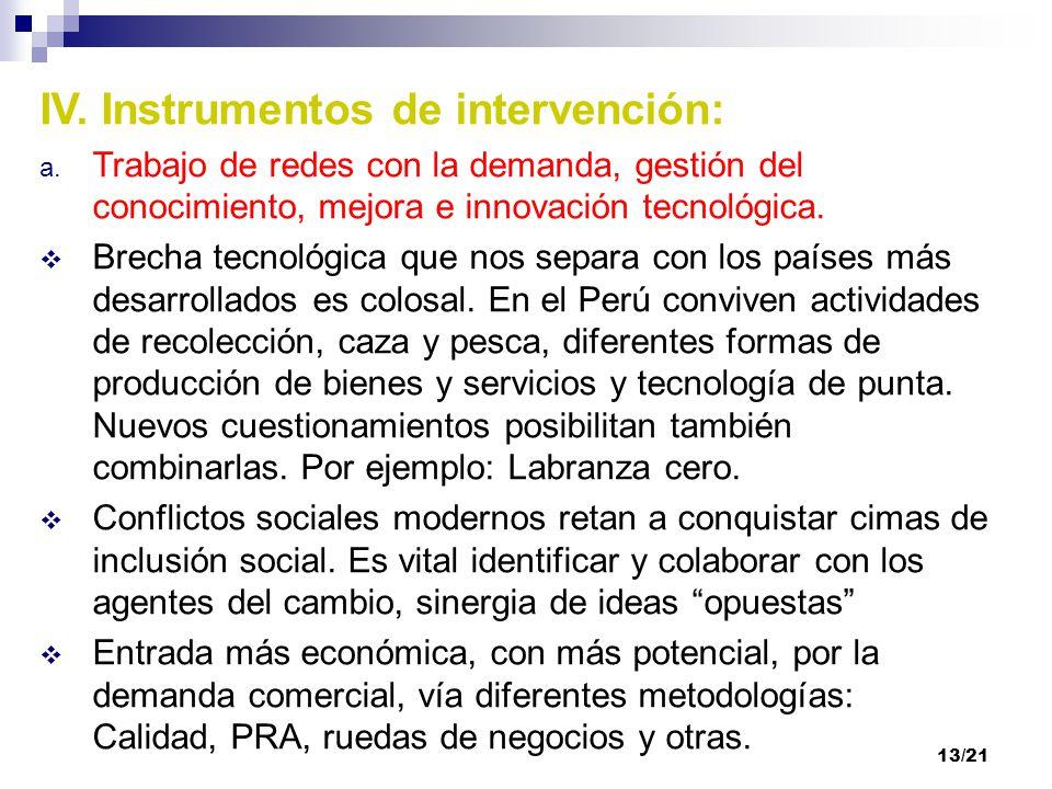 IV. Instrumentos de intervención: