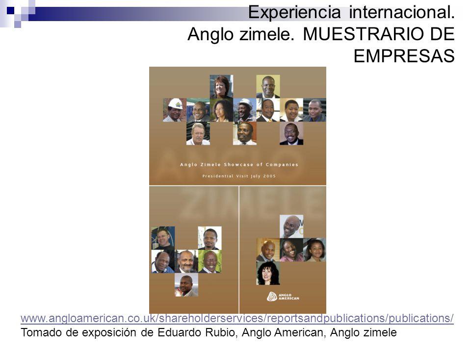Experiencia internacional. Anglo zimele. MUESTRARIO DE EMPRESAS