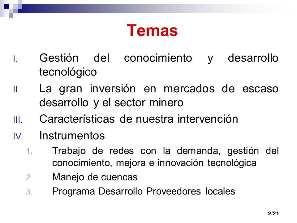 Temas Gestión del conocimiento y desarrollo tecnológico