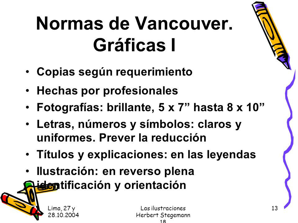 Normas de Vancouver. Gráficas I