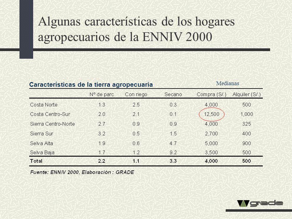 Algunas características de los hogares agropecuarios de la ENNIV 2000