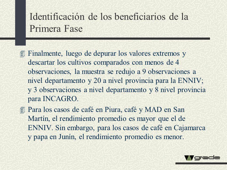 Identificación de los beneficiarios de la Primera Fase