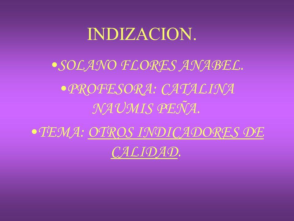 INDIZACION. SOLANO FLORES ANABEL. PROFESORA: CATALINA NAUMIS PEÑA.