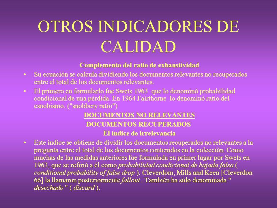 OTROS INDICADORES DE CALIDAD