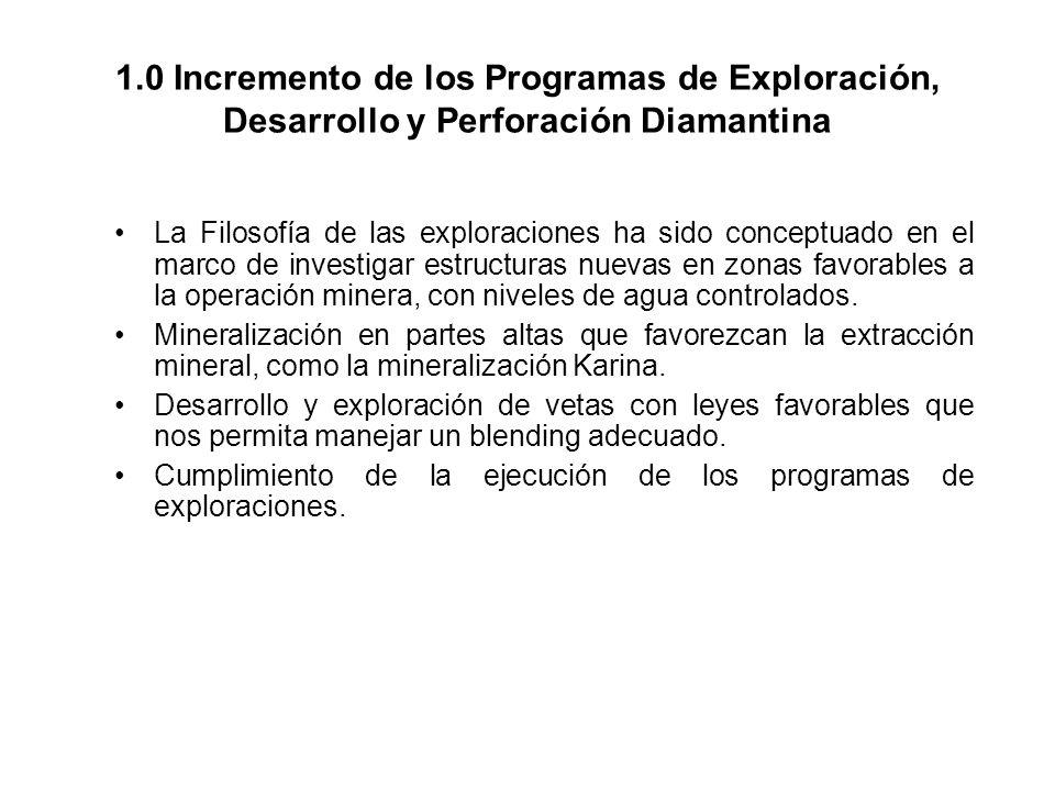 1.0 Incremento de los Programas de Exploración, Desarrollo y Perforación Diamantina