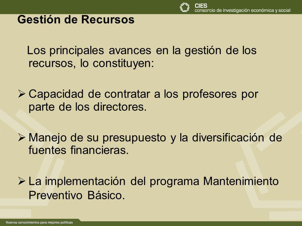 Gestión de Recursos Los principales avances en la gestión de los recursos, lo constituyen: