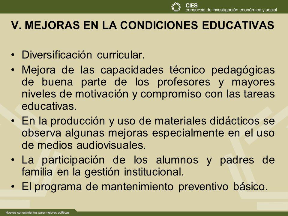 V. MEJORAS EN LA CONDICIONES EDUCATIVAS
