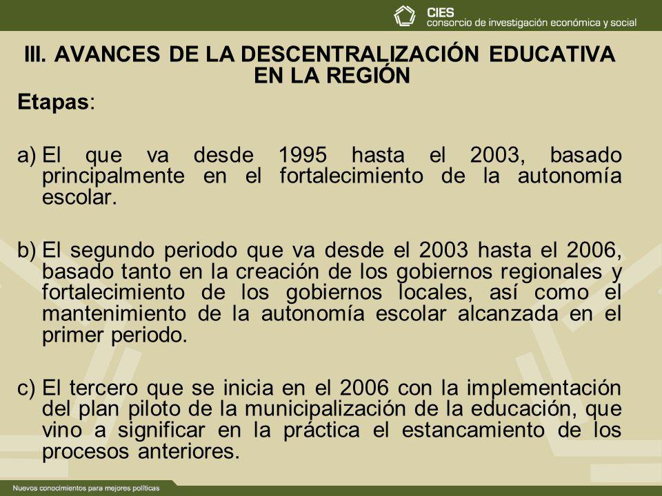 III. AVANCES DE LA DESCENTRALIZACIÓN EDUCATIVA EN LA REGIÓN