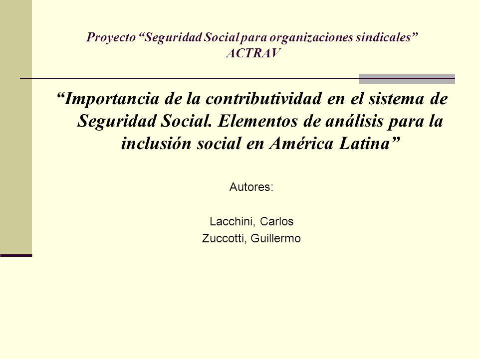 Proyecto Seguridad Social para organizaciones sindicales ACTRAV