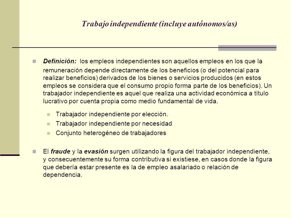 Trabajo independiente (incluye autónomos/as)