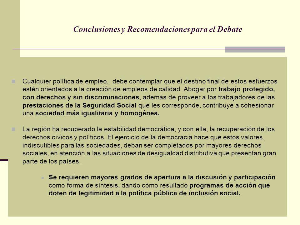 Conclusiones y Recomendaciones para el Debate