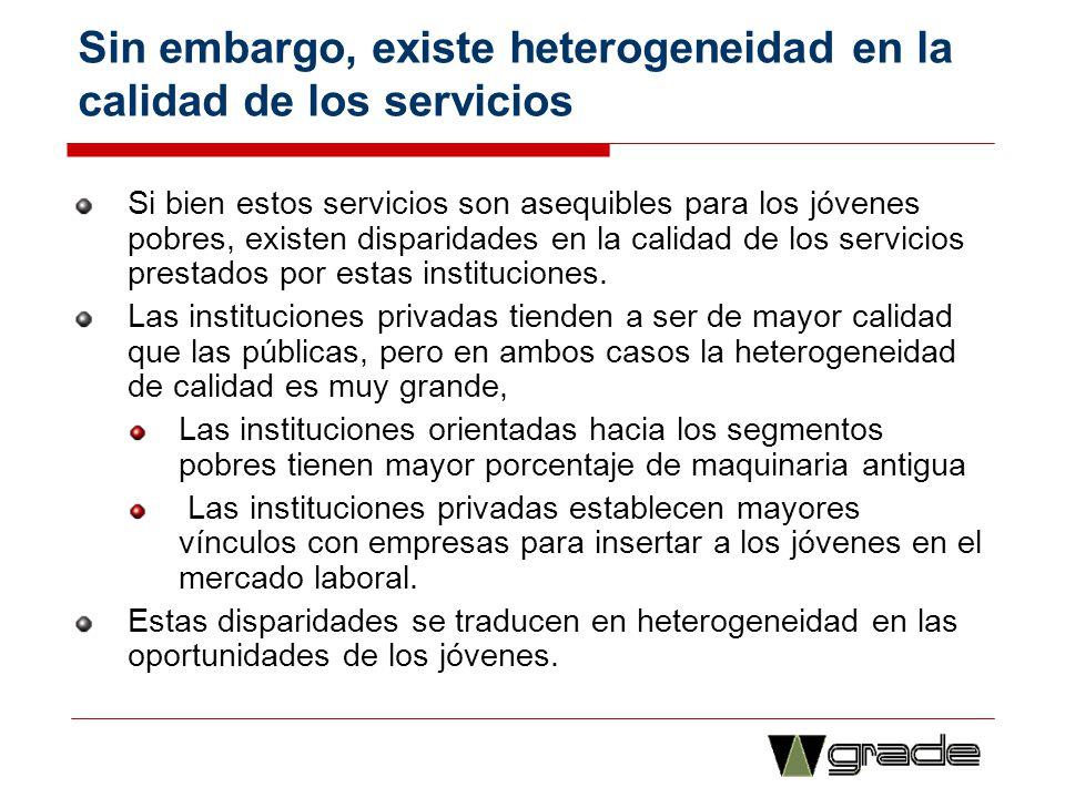 Sin embargo, existe heterogeneidad en la calidad de los servicios