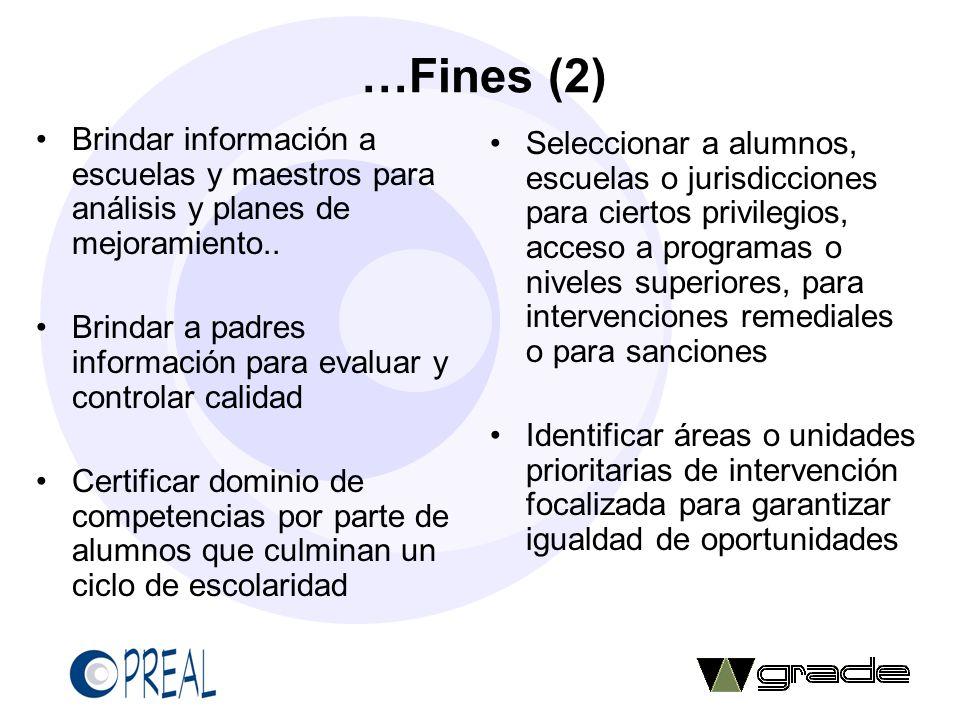 …Fines (2) Brindar información a escuelas y maestros para análisis y planes de mejoramiento..