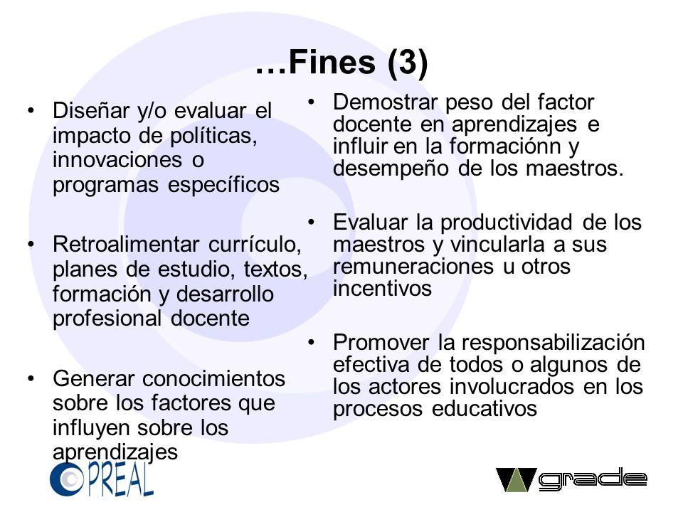 …Fines (3) Demostrar peso del factor docente en aprendizajes e influir en la formaciónn y desempeño de los maestros.