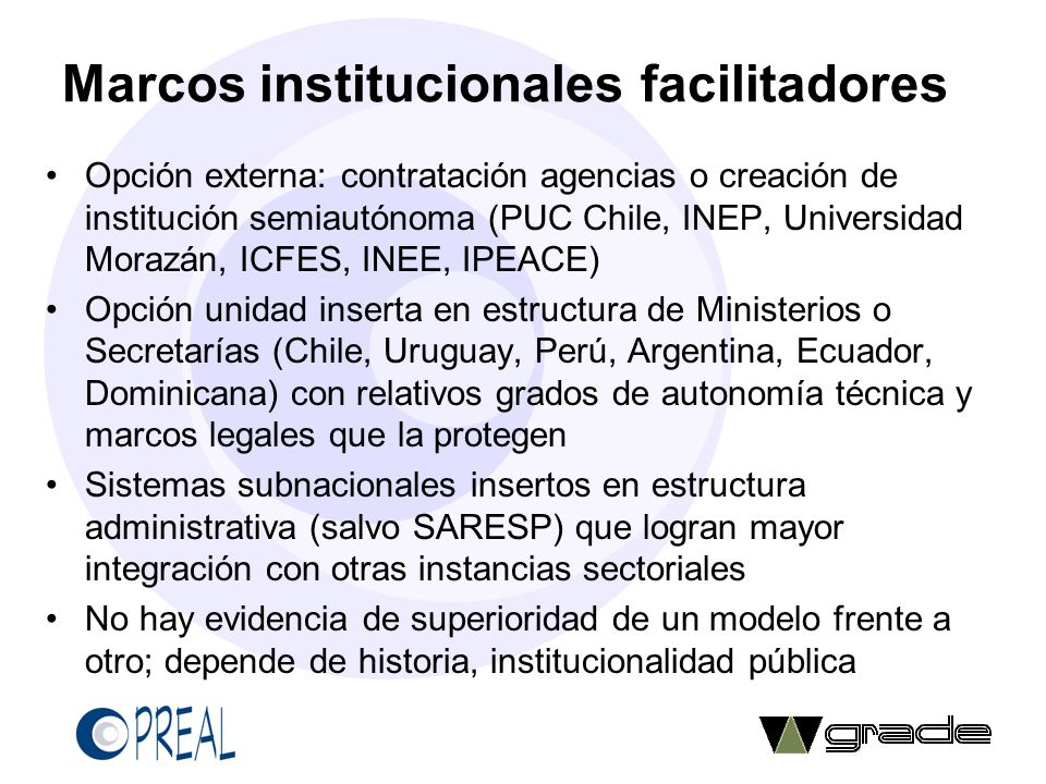 Marcos institucionales facilitadores
