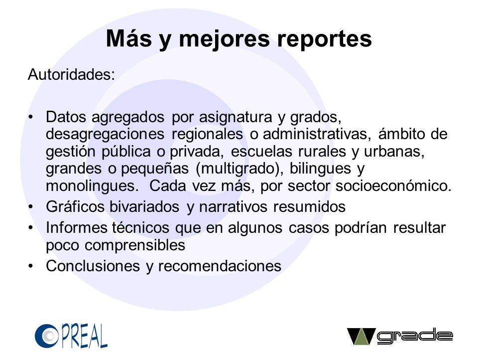 Más y mejores reportes Autoridades: