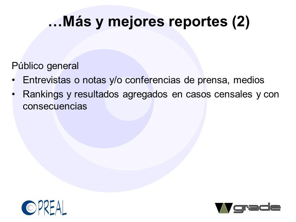 …Más y mejores reportes (2)