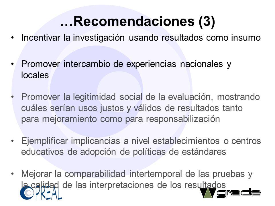 …Recomendaciones (3) Incentivar la investigación usando resultados como insumo. Promover intercambio de experiencias nacionales y locales.