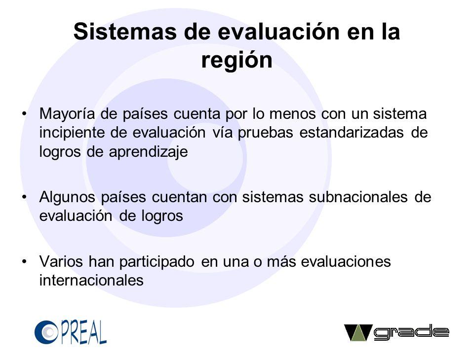Sistemas de evaluación en la región