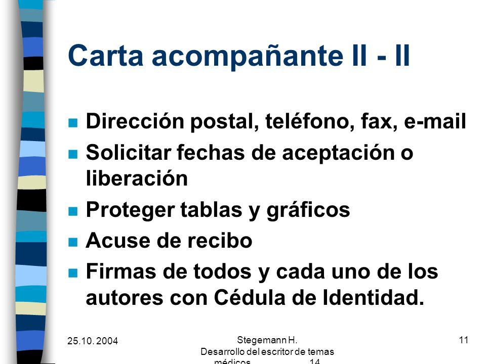 Carta acompañante II - II