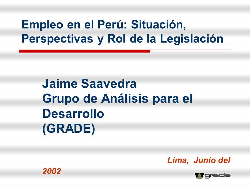 Empleo en el Perú: Situación, Perspectivas y Rol de la Legislación