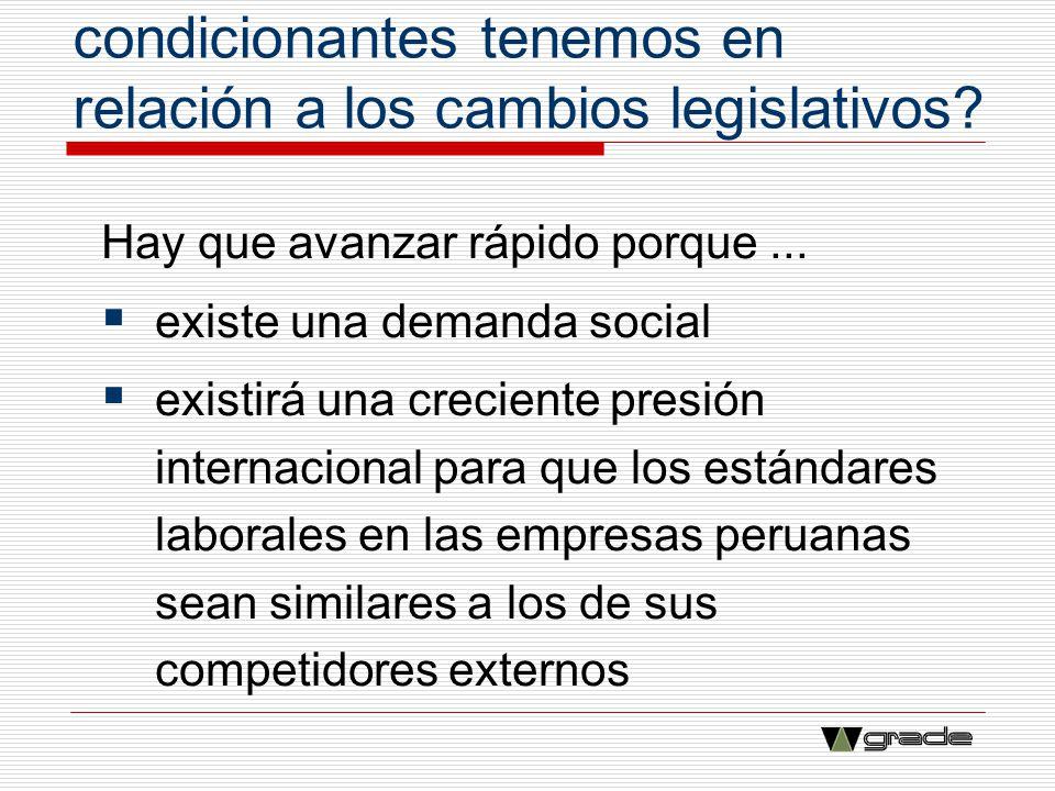 ¿Qué restricciones y condicionantes tenemos en relación a los cambios legislativos