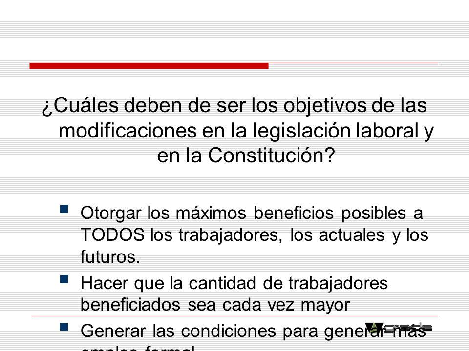 ¿Cuáles deben de ser los objetivos de las modificaciones en la legislación laboral y en la Constitución