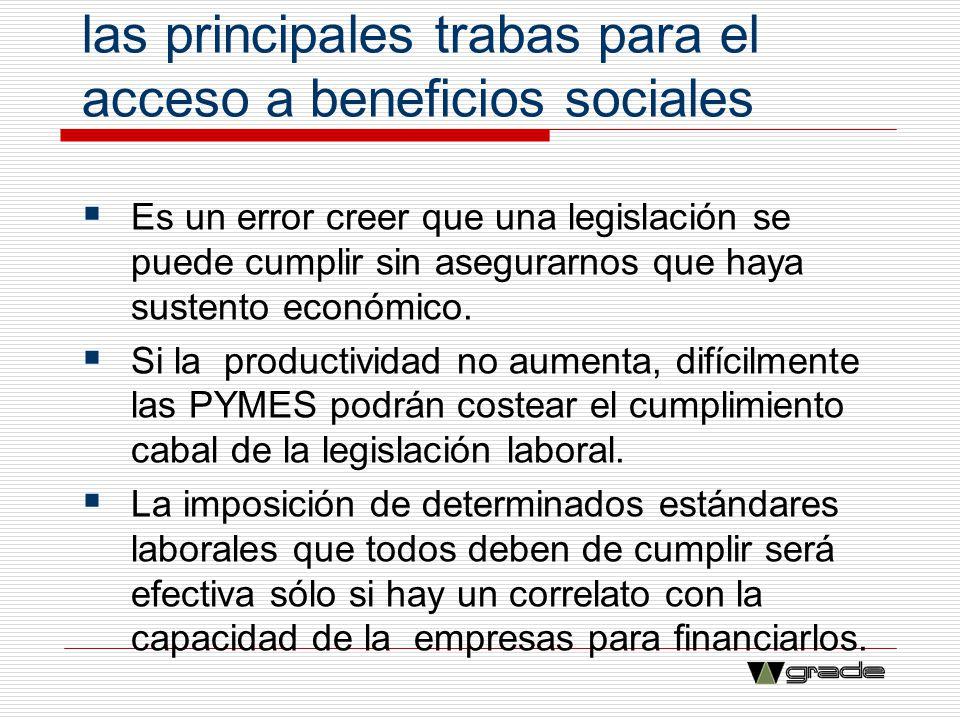 La baja productividad es una de las principales trabas para el acceso a beneficios sociales