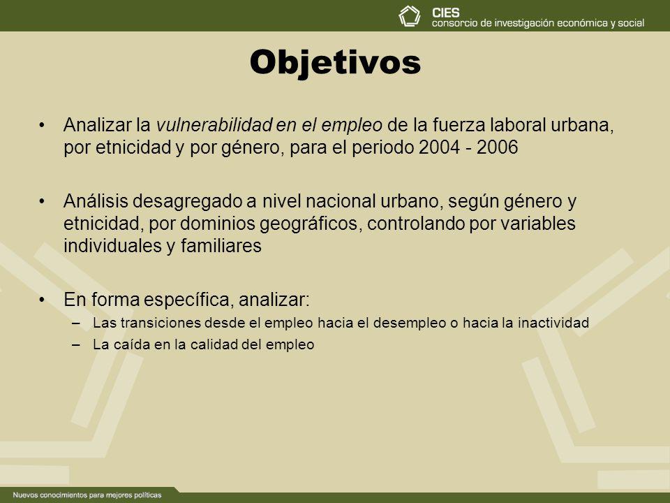 Objetivos Analizar la vulnerabilidad en el empleo de la fuerza laboral urbana, por etnicidad y por género, para el periodo 2004 - 2006.