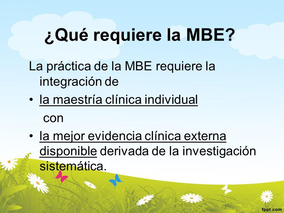¿Qué requiere la MBE La práctica de la MBE requiere la integración de