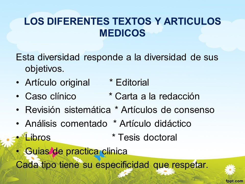 LOS DIFERENTES TEXTOS Y ARTICULOS MEDICOS