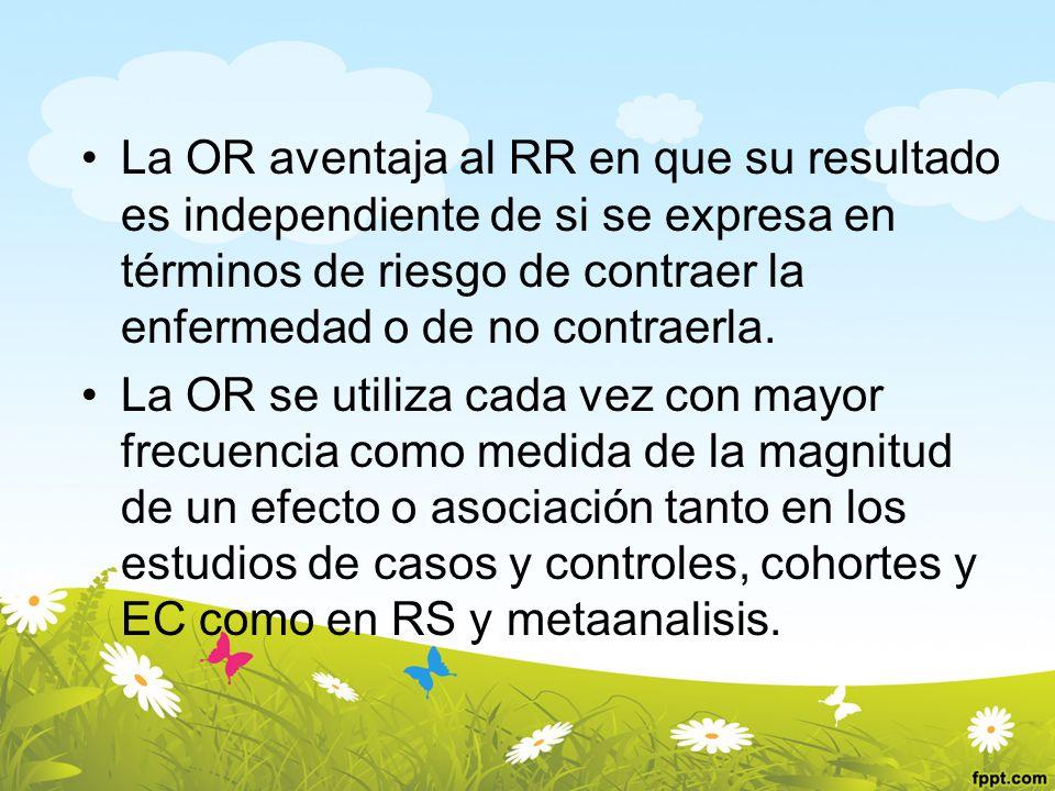 La OR aventaja al RR en que su resultado es independiente de si se expresa en términos de riesgo de contraer la enfermedad o de no contraerla.