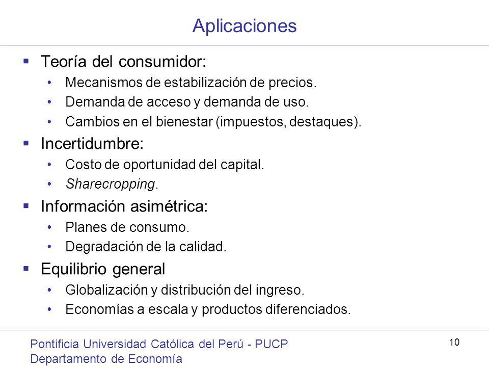 Aplicaciones Teoría del consumidor: Incertidumbre: