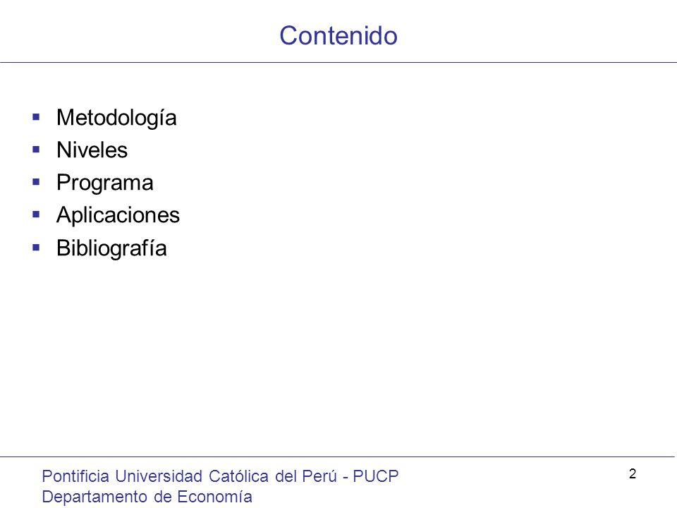 Contenido Metodología Niveles Programa Aplicaciones Bibliografía