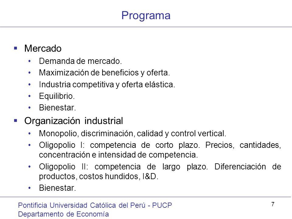 Programa Mercado Organización industrial Demanda de mercado.