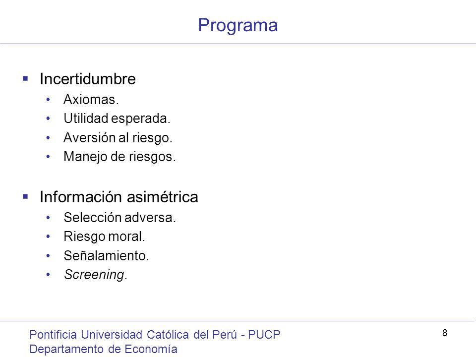 Programa Incertidumbre Información asimétrica Axiomas.