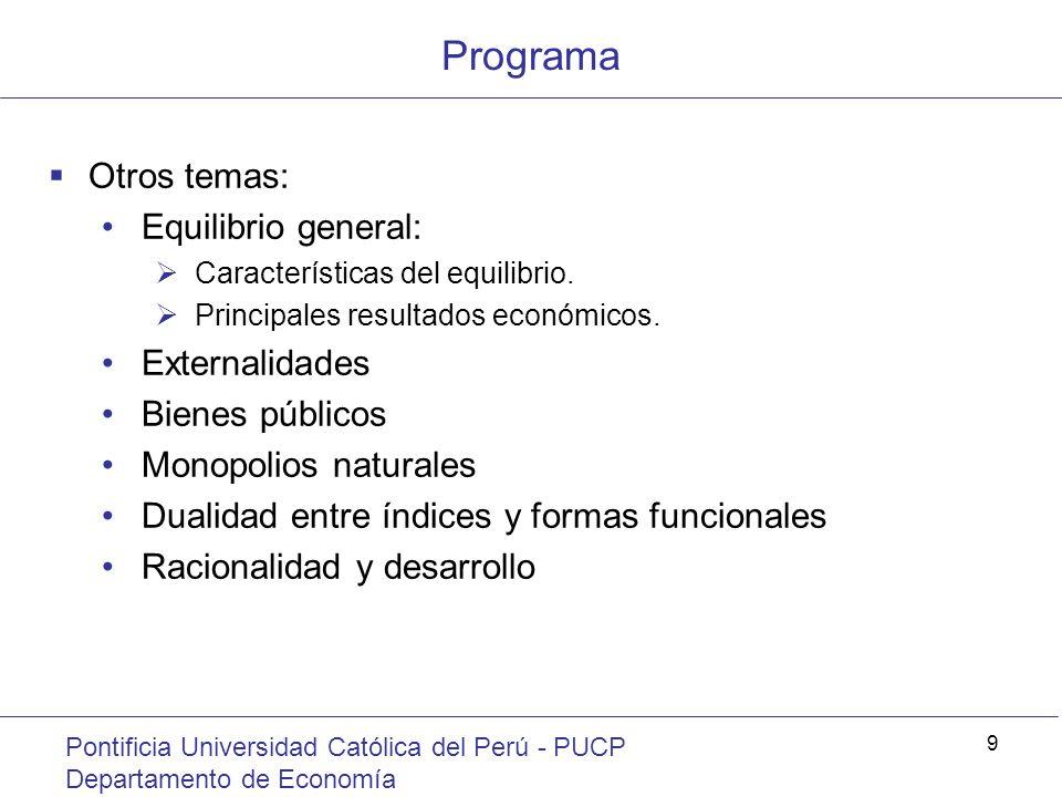 Programa Otros temas: Equilibrio general: Externalidades