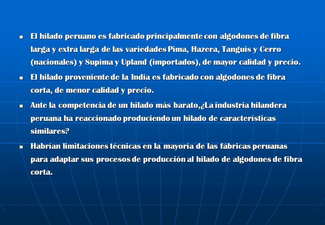 El hilado peruano es fabricado principalmente con algodones de fibra larga y extra larga de las variedades Pima, Hazera, Tanguis y Cerro (nacionales) y Supima y Upland (importados), de mayor calidad y precio.