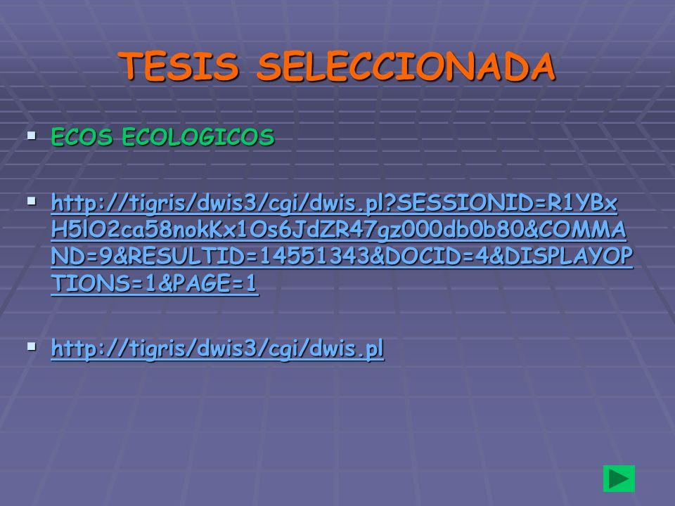 TESIS SELECCIONADA ECOS ECOLOGICOS