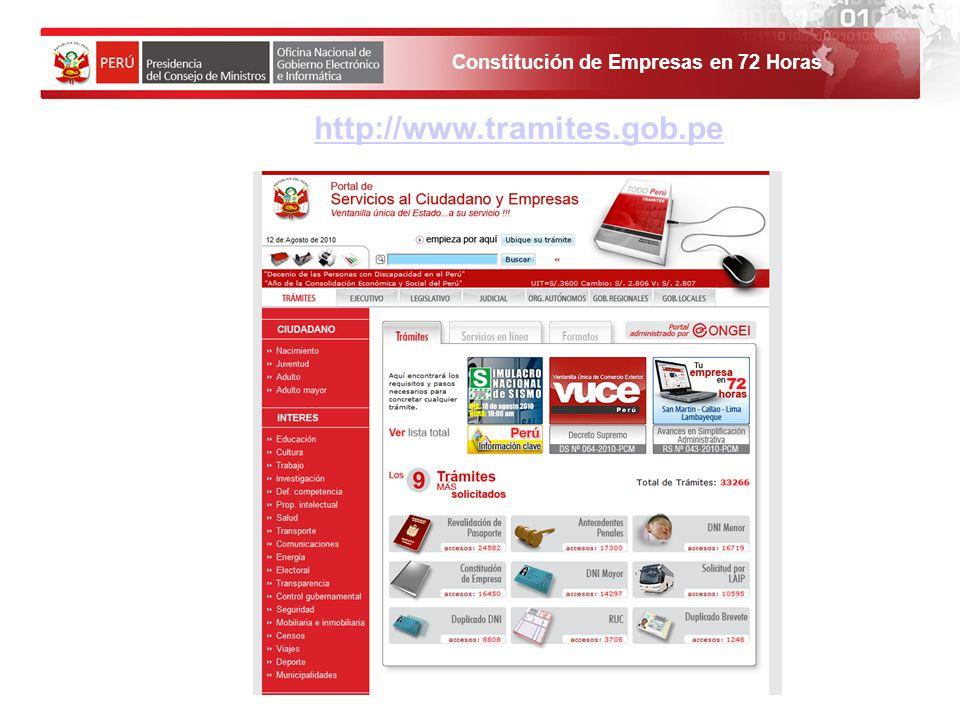 http://www.tramites.gob.pe 1. El solicitante debe ingresar al Portal de Servicios al ciudadano y empresas.