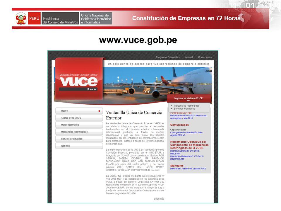 www.vuce.gob.pe 1. El solicitante debe ingresar al Portal de Servicios al ciudadano y empresas. 19
