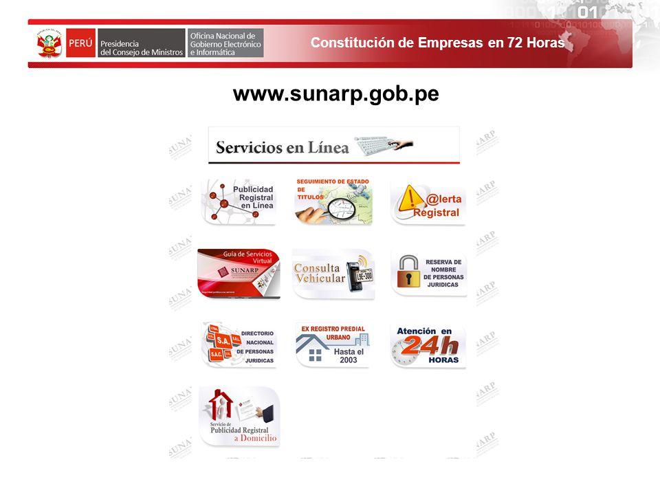 www.sunarp.gob.pe 1. El solicitante debe ingresar al Portal de Servicios al ciudadano y empresas.